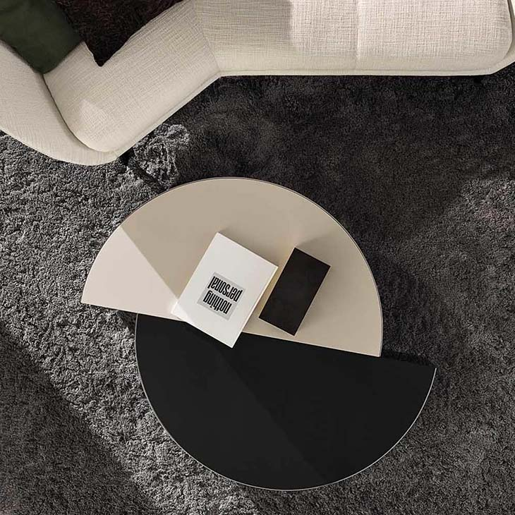 modern living room featuring minotti shields coffee table