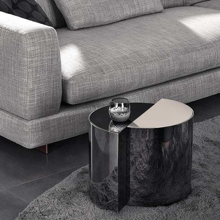 modern living room featuring minotti shields side table