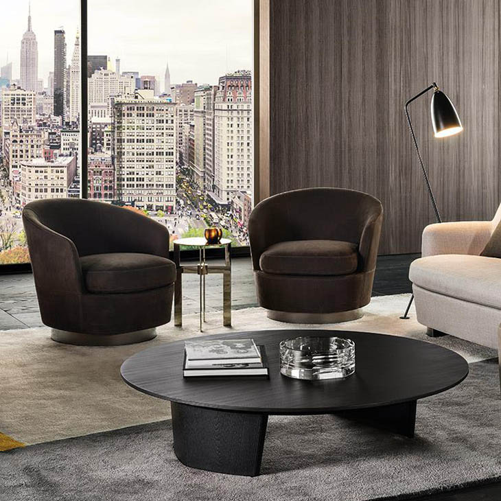 modern living room featuring minotti song coffee table