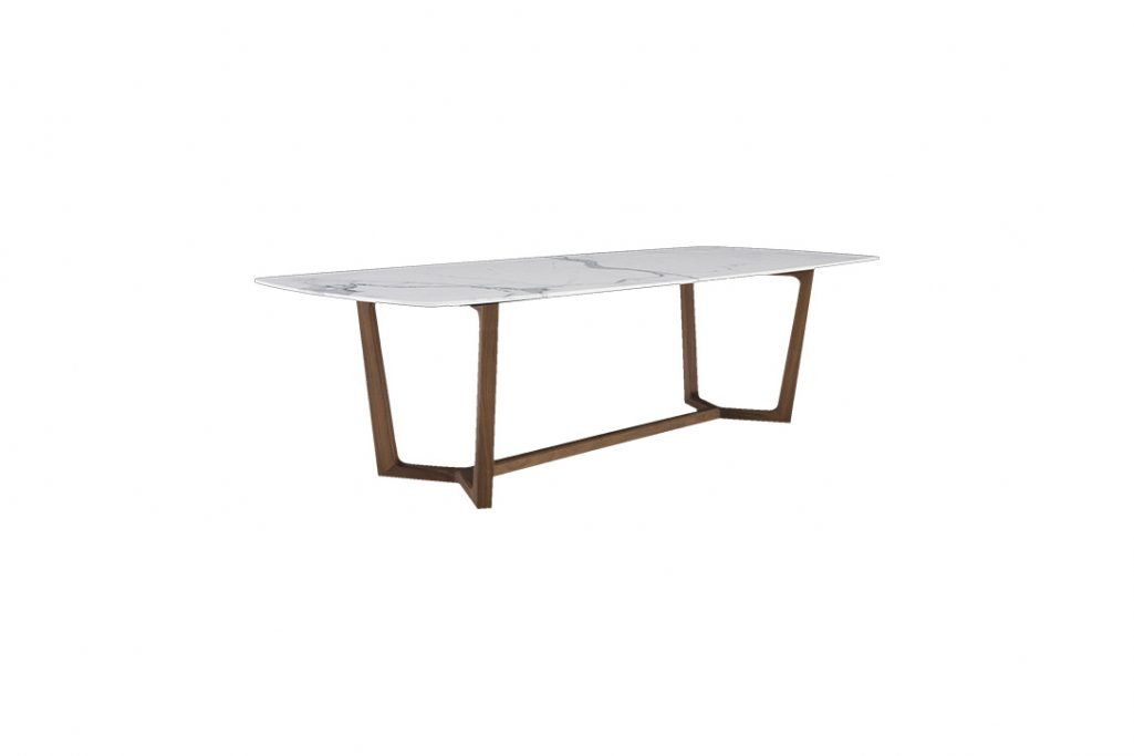 rendering of a poliform concorde dining table on a white background