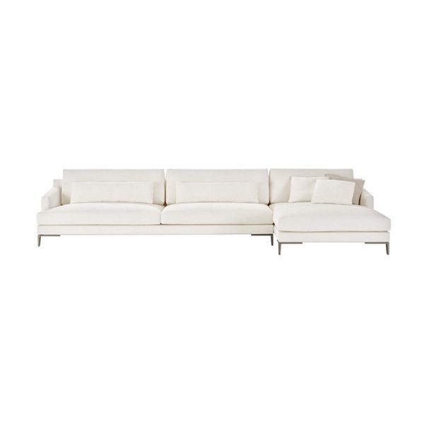 poliform bellport chaise right sectional sofa on a white background