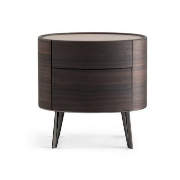 poliform kelly nightstand two-drawer with legs on a white background
