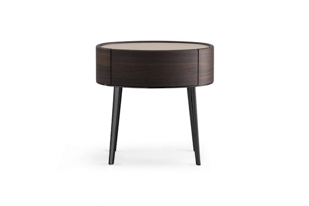 poliform kelly nightstand one-drawer with legs on a white background