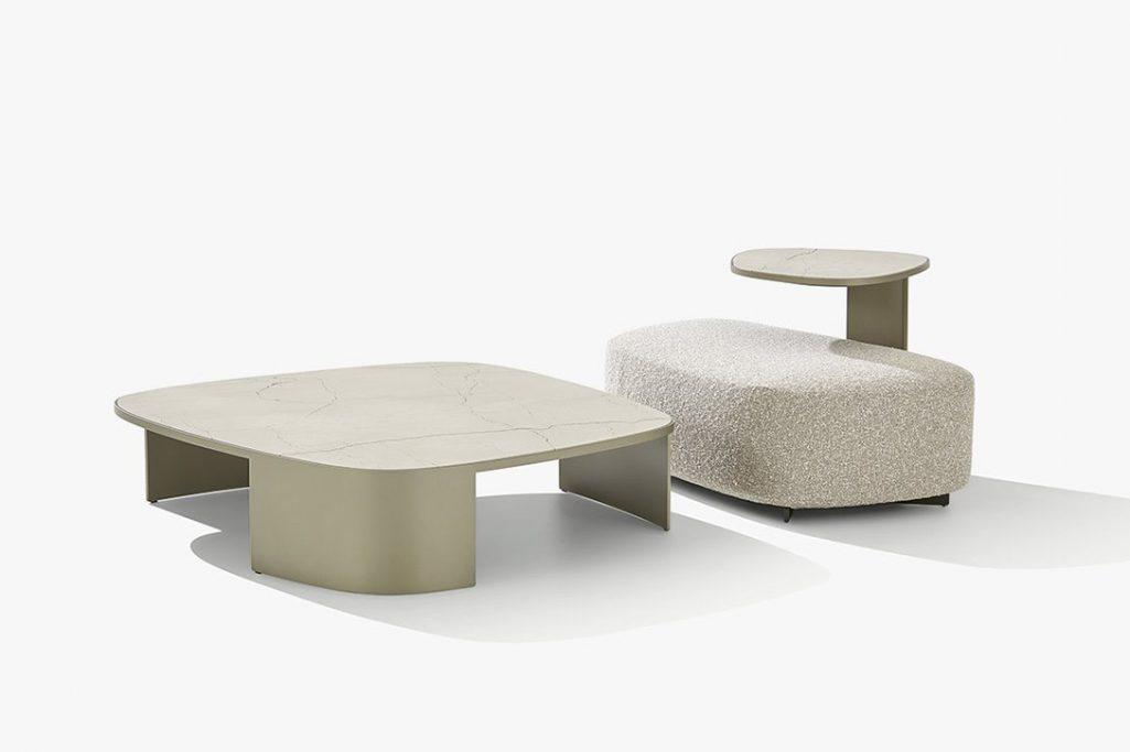 poliform koishi coffee table and koishi side table on a white background