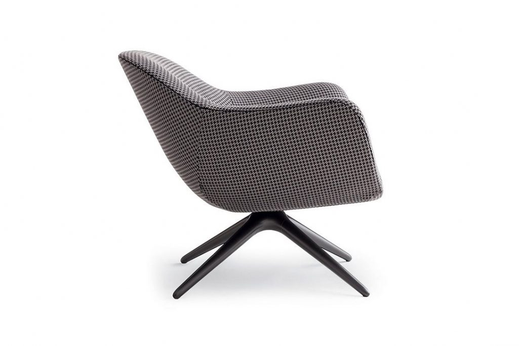 poliform mad armchair swivel base on a white background