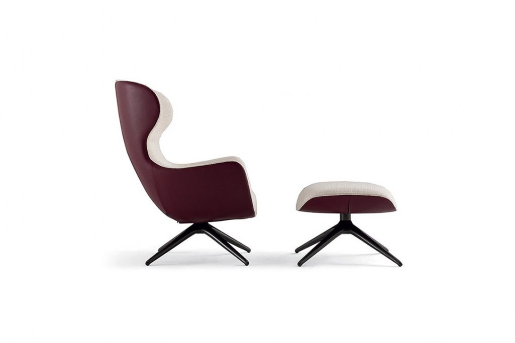 poliform mad joker armchair and ottoman on a white background