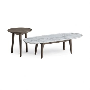 poliform mad coffee table and mad side table on a white background