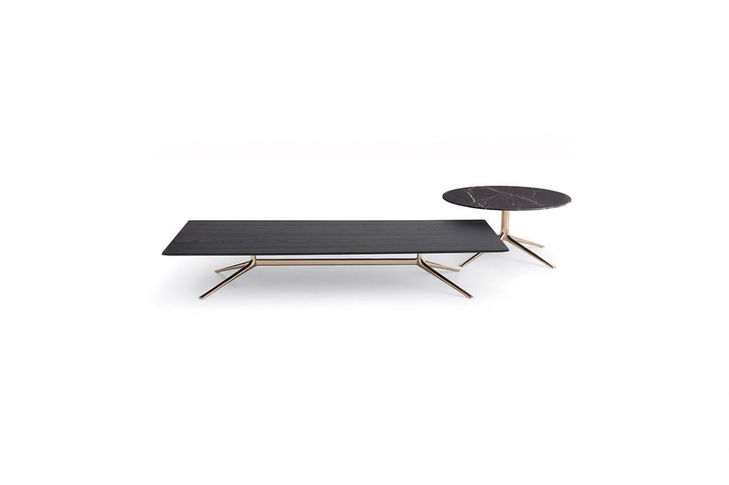 poliform mondrian coffee table and side table on a white background