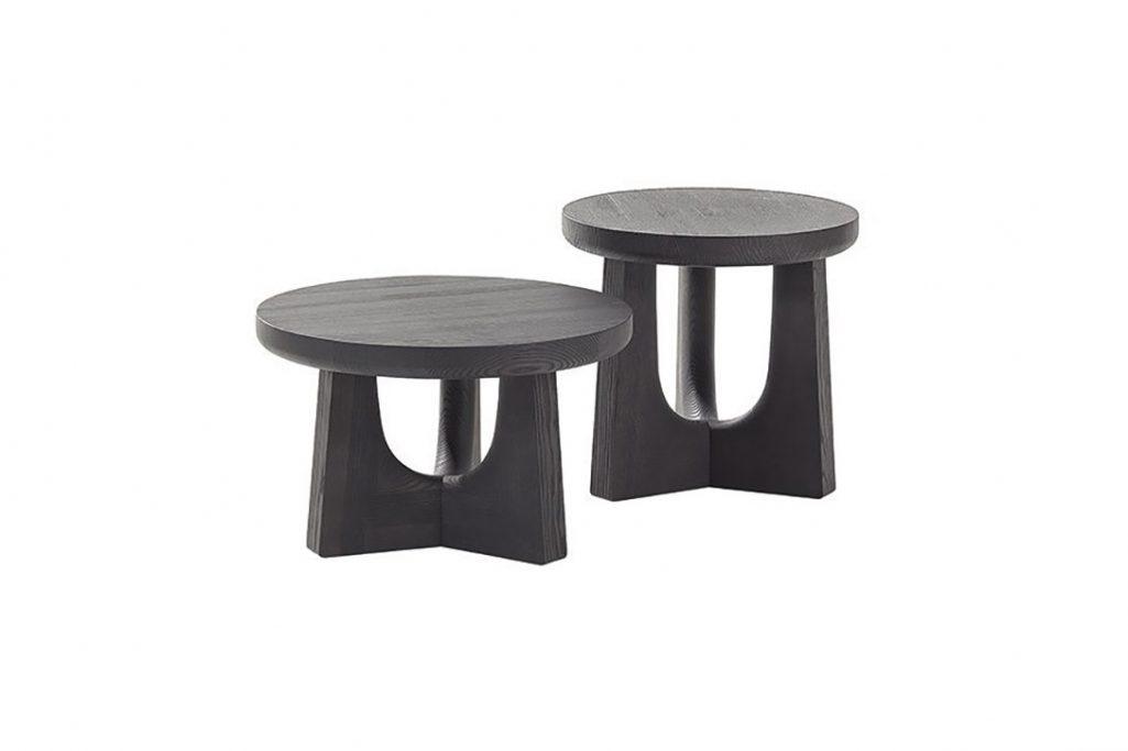 black elm poliform nara side tables on a white background