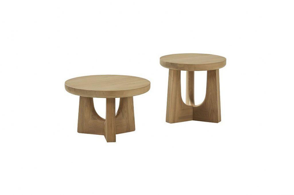hickory walnut gold poliform nara side tables on a white background