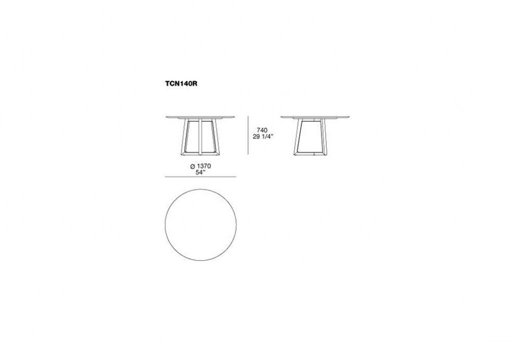 line drawing and dimensions for poliform concorde dining table model tcn140r