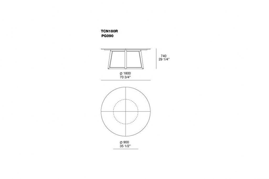 line drawing and dimensions for poliform concorde dining table model tcn180r