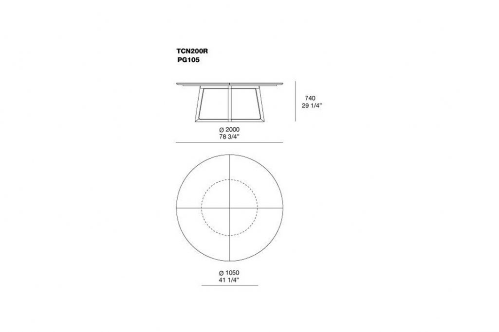 line drawing and dimensions for poliform concorde dining table model tcn200r