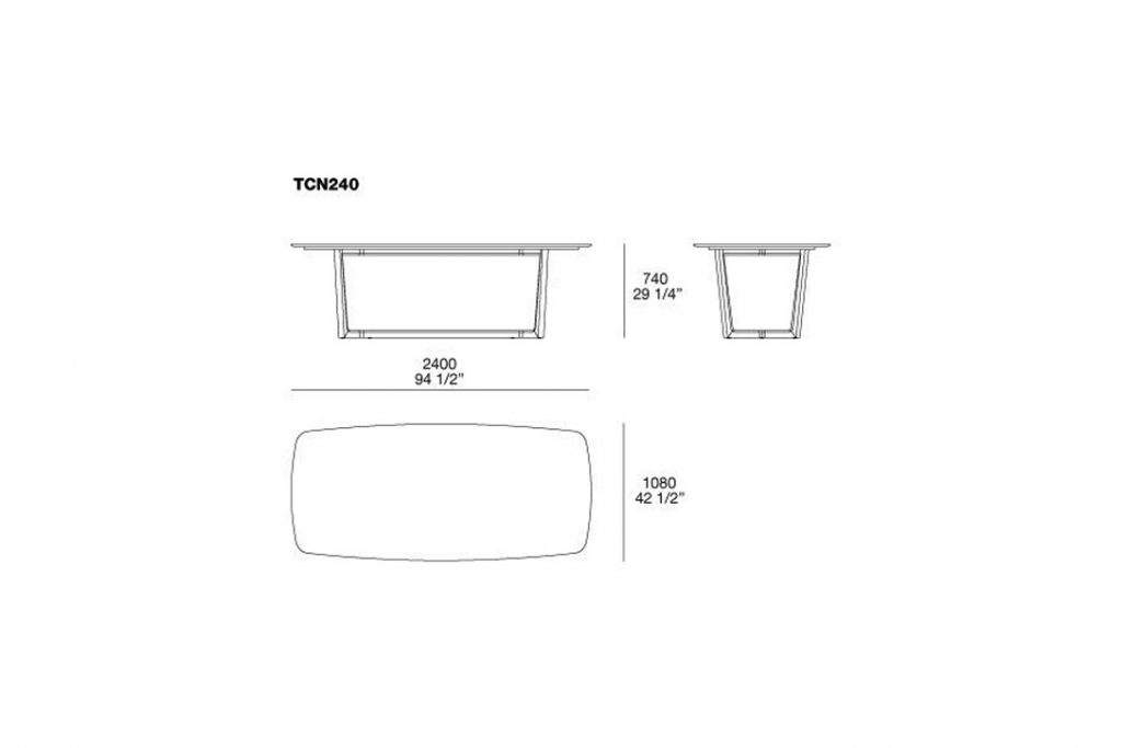 line drawing and dimensions for poliform concorde dining table model tcn240