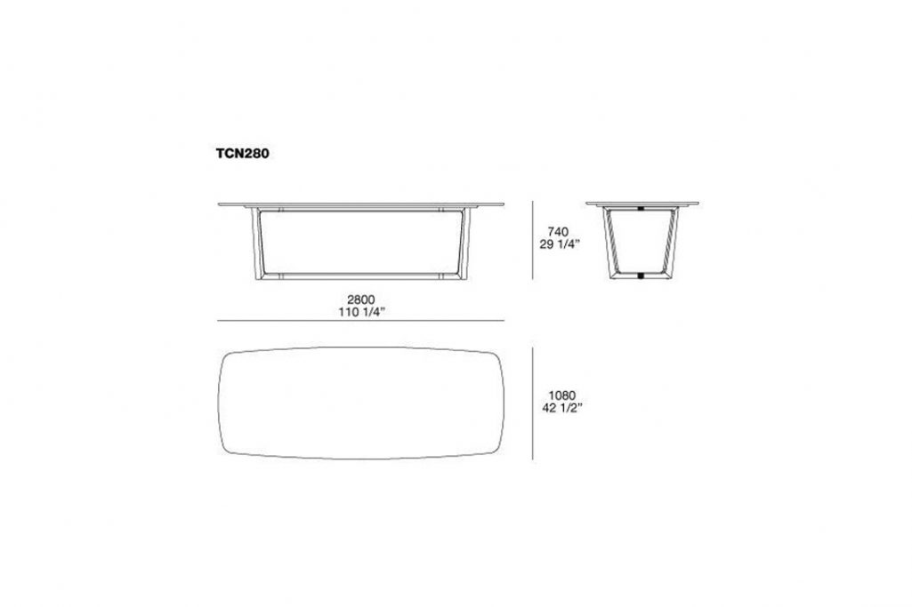 line drawing and dimensions for poliform concorde dining table model tcn280