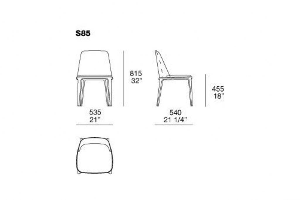 line drawing and dimensions for poliform grace dining chair