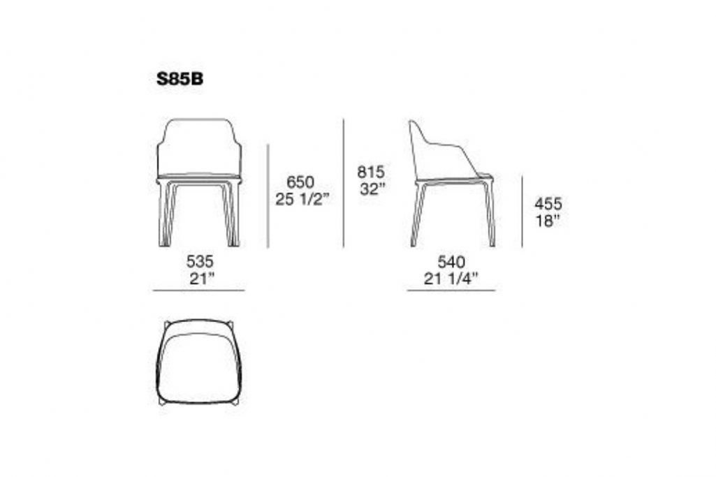 line drawing and dimensions for poliform grace dining arm chair