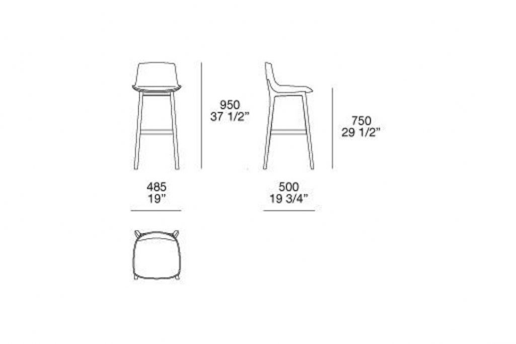 line drawing and dimensions for poliform ventura bar stool