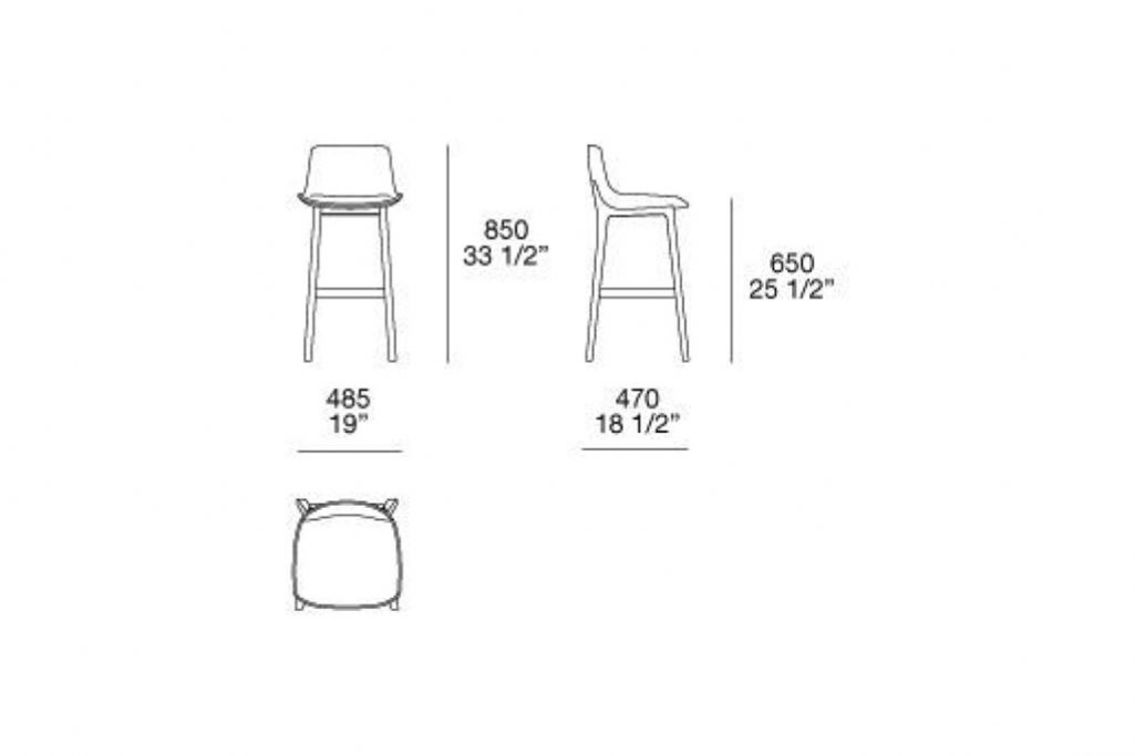 line drawing and dimensions for poliform ventura counter stool