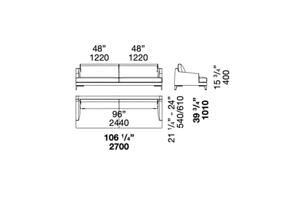 line drawing and dimensions for poliform bellport straight sofa