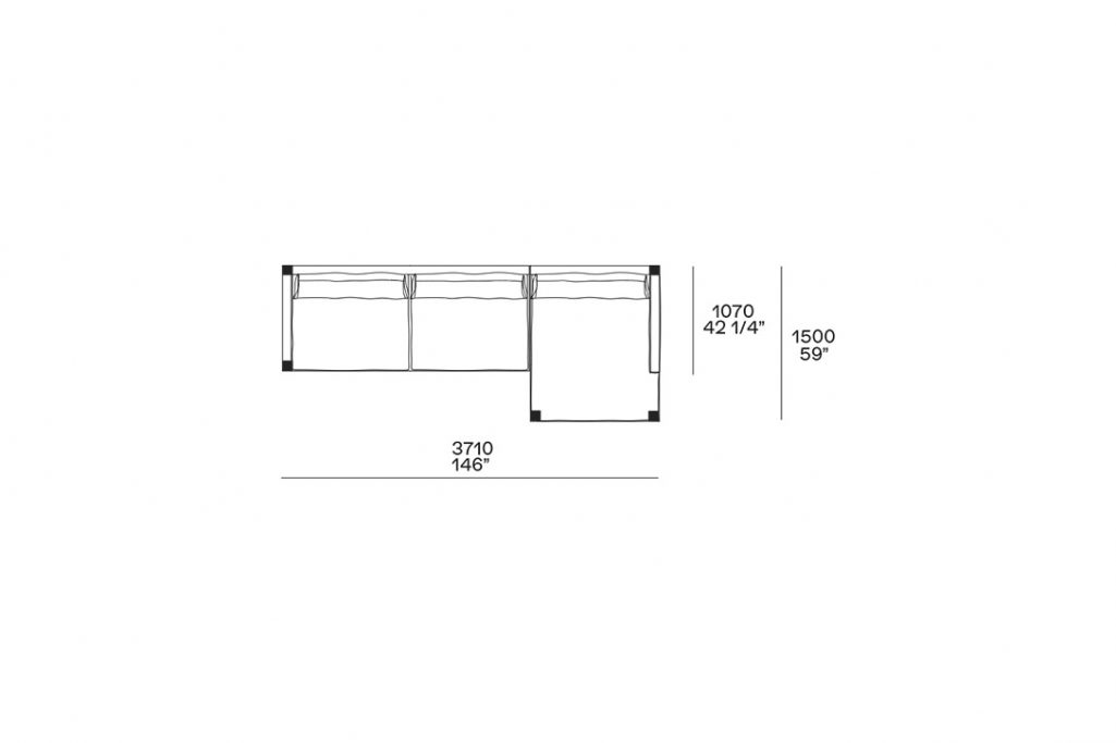 """line drawing and dimensions for poliform bristol chaise right sectional sofa 146"""""""