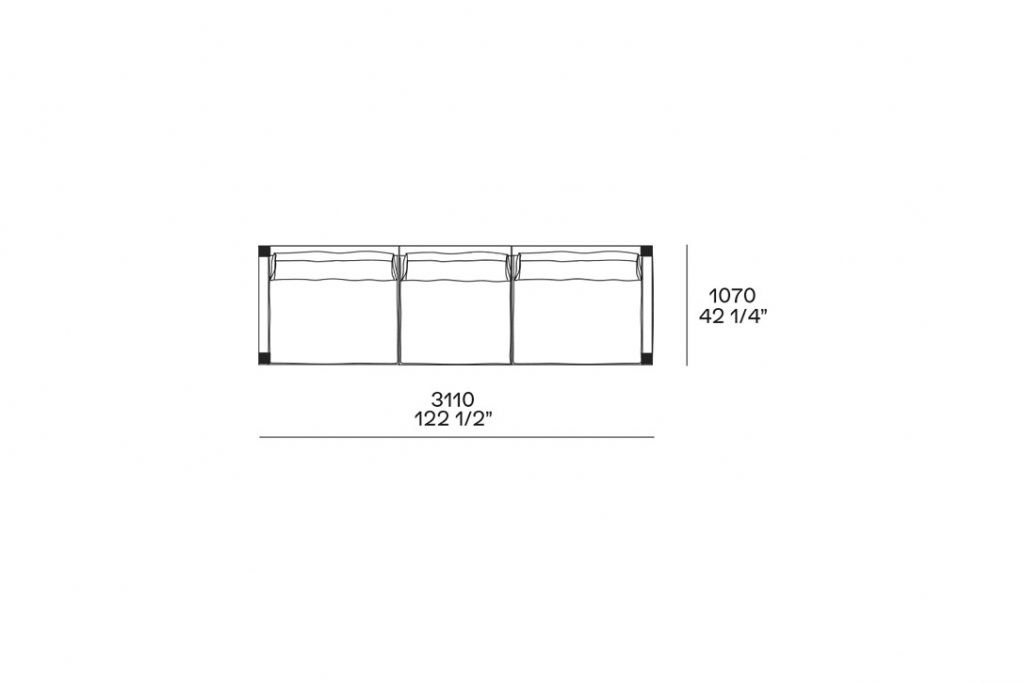 """line drawing and dimensions for poliform bristol straight sofa 122 1/2"""""""