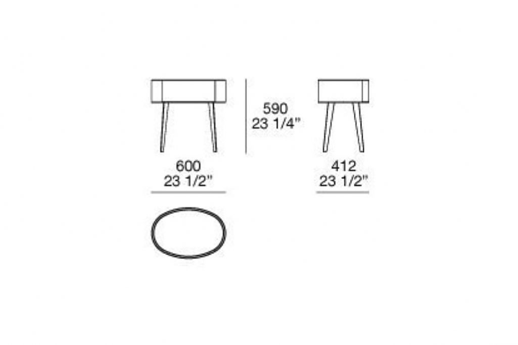 line drawing and dimensions for poliform one-drawer kelly nightstand with legs