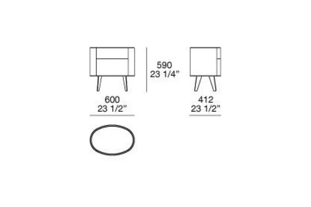 line drawing and dimensions for poliform two-drawer kelly nightstand with legs