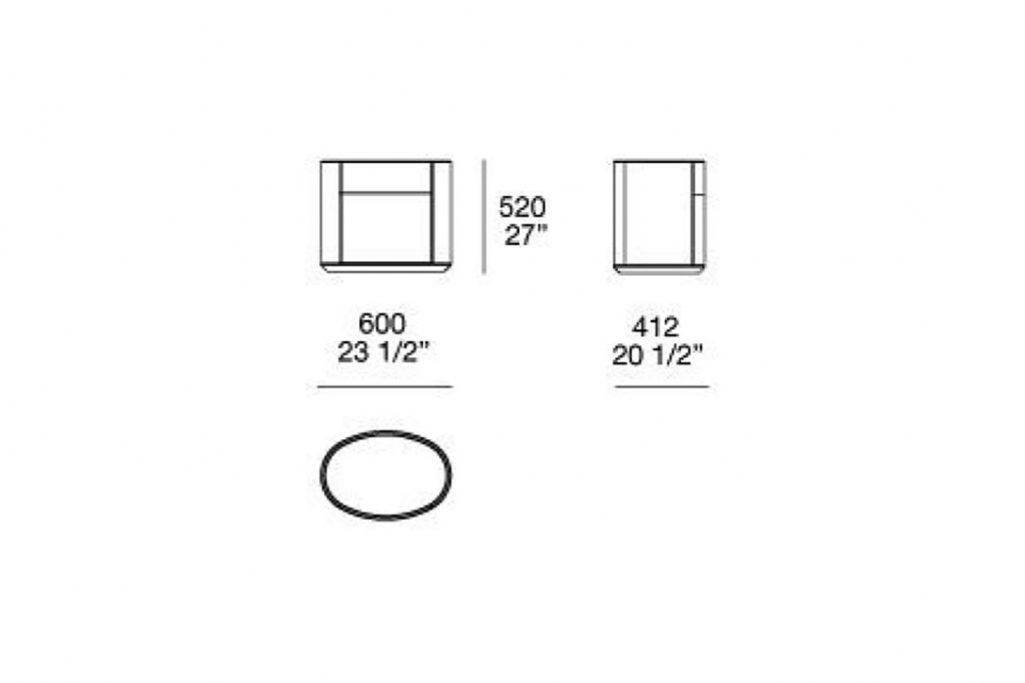 line drawing and dimensions for poliform double drawer kelly nightstand