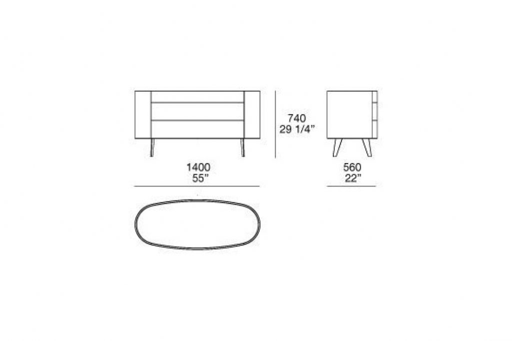 line drawing and dimensions for poliform kelly dresser with legs