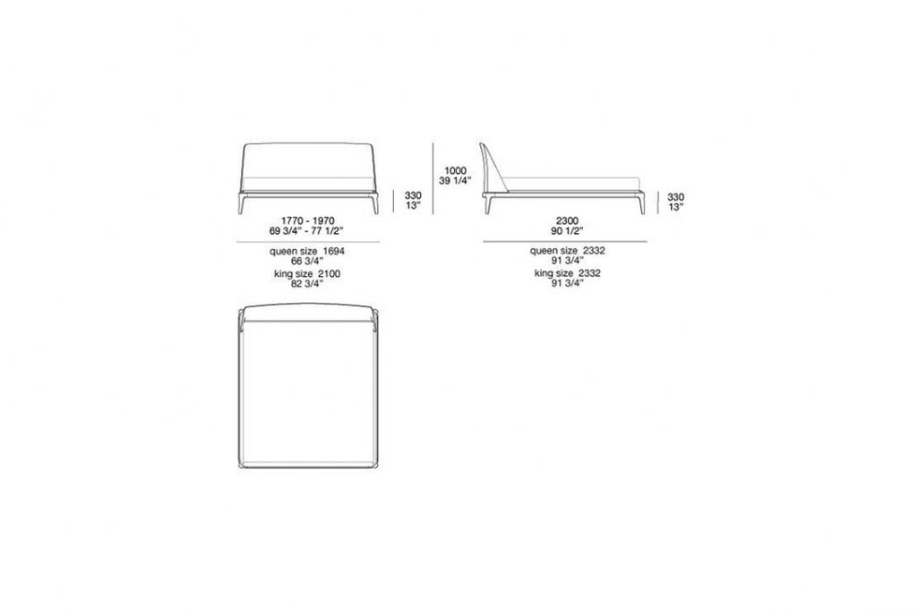 line drawing and dimensions for poliform kelly bed