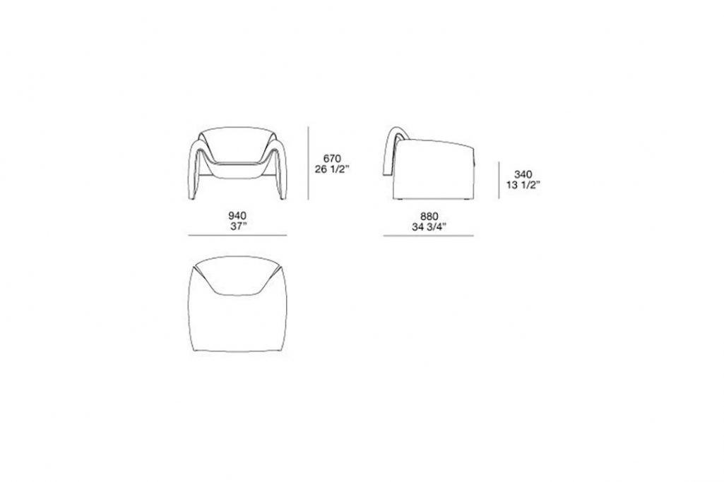 line drawing and dimensions for poliform le club armchair