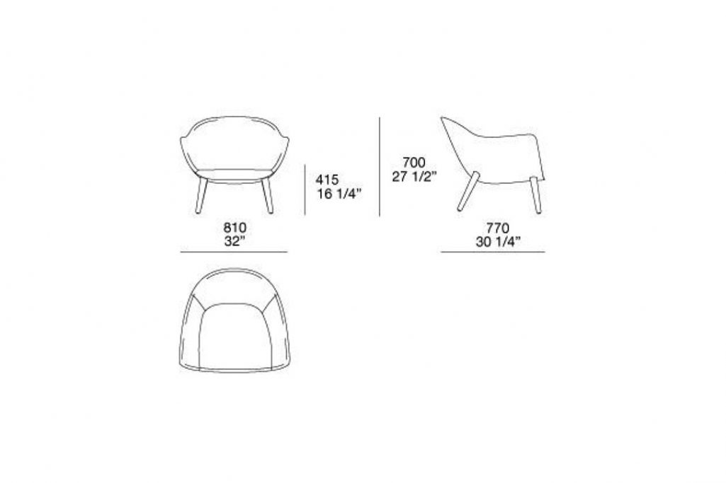 line drawing and dimensions for poliform mad armchair wood legs