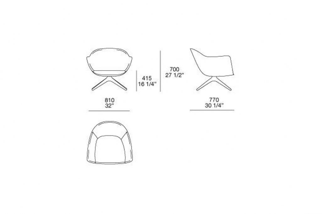 line drawing and dimensions for poliform mad armchair swivel base