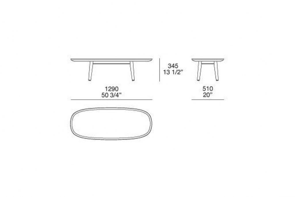 """line drawing and dimensions for poliform mad coffee table 50 3/4"""""""