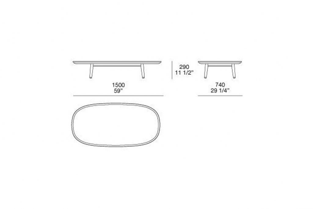 """line drawing and dimensions for poliform mad coffee table 59"""""""