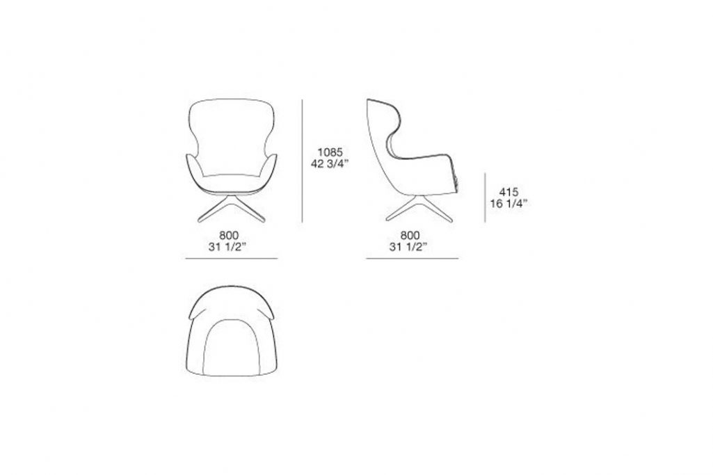 line drawing and dimensions for a poliform mad joker armchair swivel base