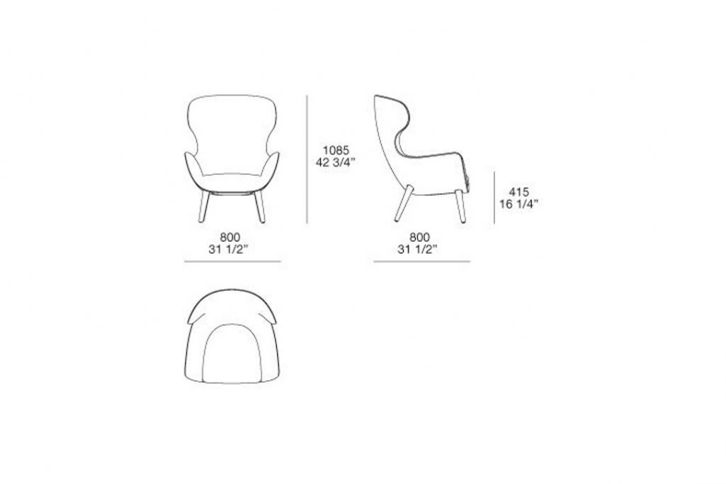 line drawing and dimensions for a poliform mad joker armchair wood legs