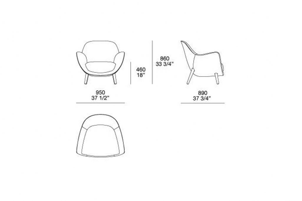 line drawing and dimensions for poliform mad queen armchair