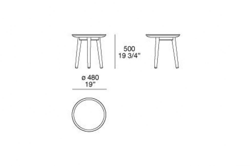 line drawing and dimensions for poliform mad side table