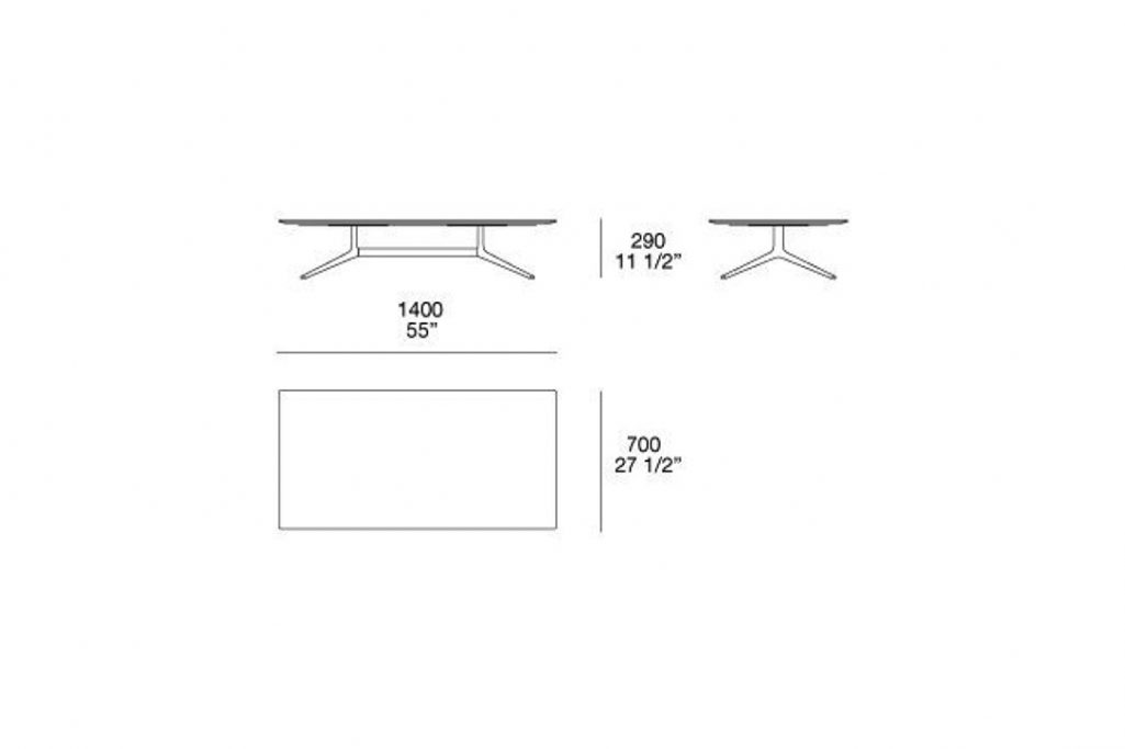 """line drawing and dimensions for poliform mondrian coffee table rectangle 55"""""""
