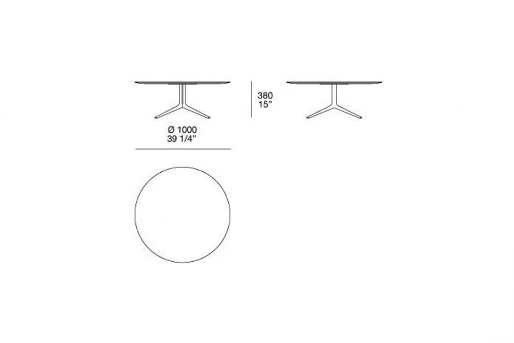 """line drawing and dimensions for poliform mondrian coffee table round 39"""" x 15"""""""