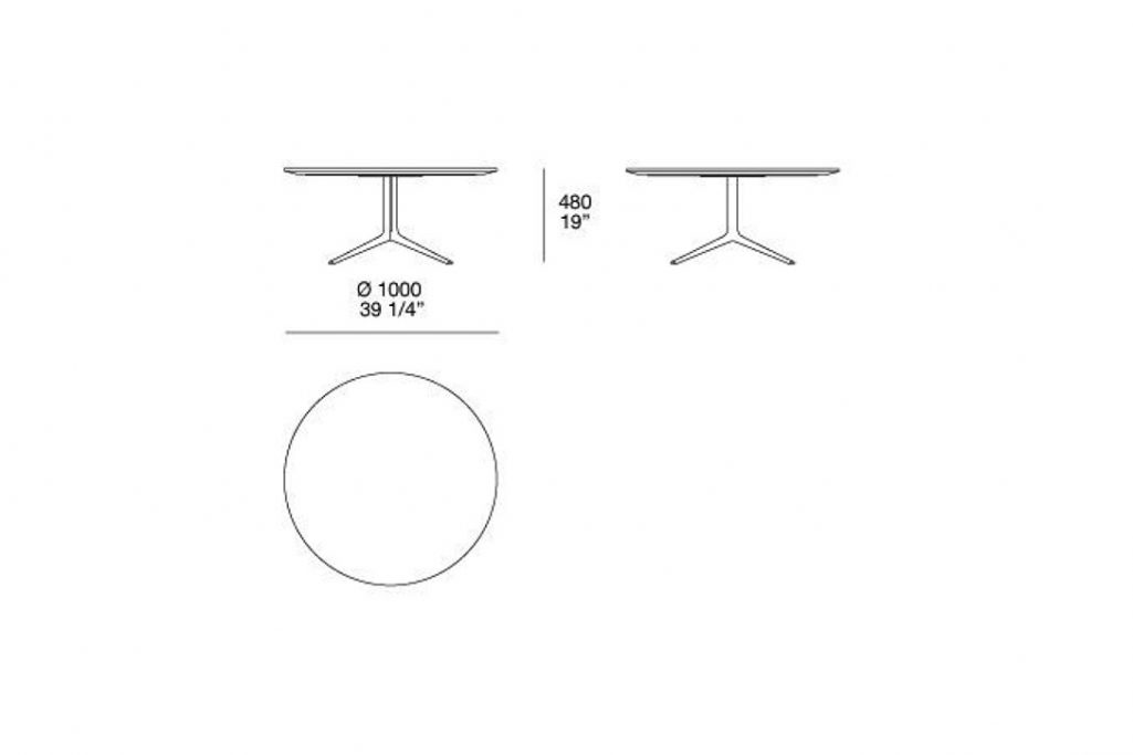 """line drawing and dimensions for poliform mondrian coffee table round 39"""" x 19"""""""