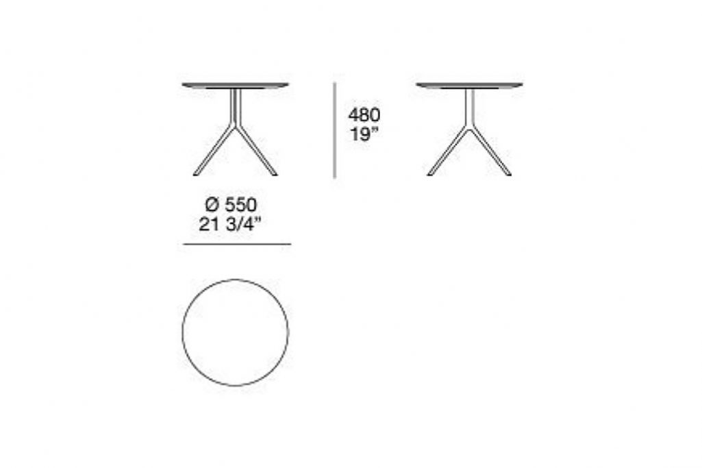"""line drawing and dimensions for poliform mondrian side table round 21 3/4"""" x 19"""""""