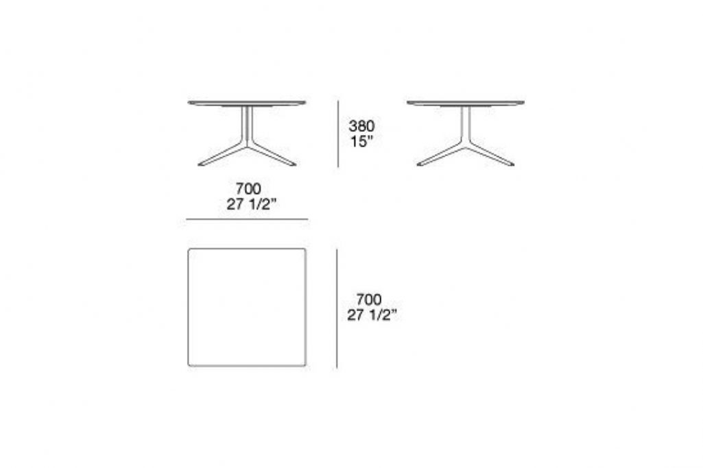 """line drawing and dimensions for poliform mondrian side table square 27""""x15"""""""