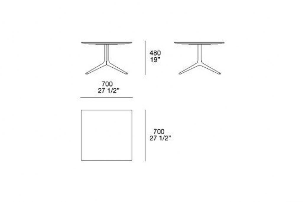 """line drawing and dimensions for poliform mondrian side table square 27""""x19"""""""