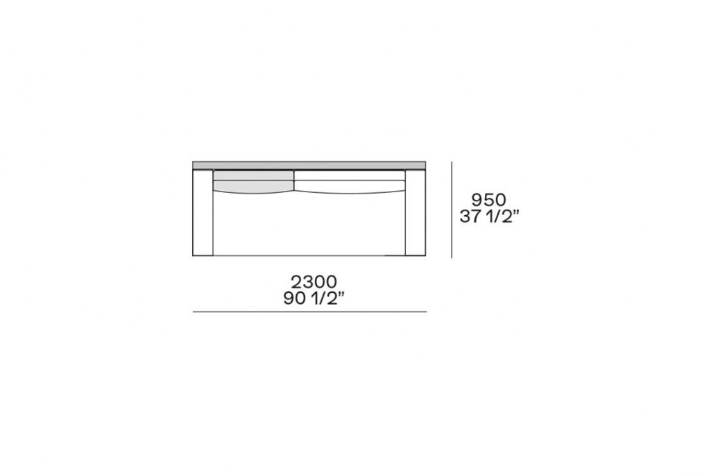 """line drawing and dimensions for poliform mondrian straight sofa 90 1/2"""""""