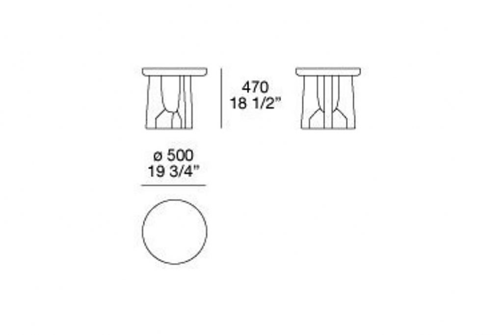 """line drawing and dimensions for poliform nara side table 19 3/4"""""""