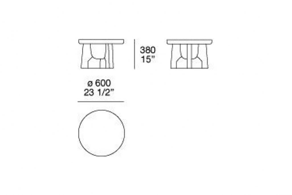 """line drawing and dimensions for poliform nara side table 23 1/2"""""""