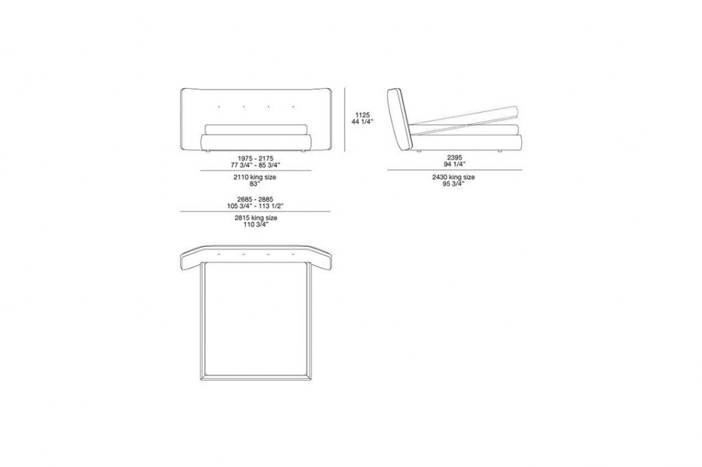 line drawing and dimensions for poliform rever bed